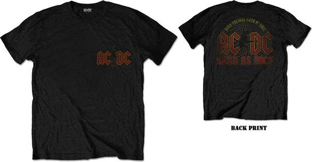 AC/DC Unisex Tee Hard As Rock Black (Back Print) L