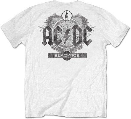 AC/DC Unisex Tee: Black Ice White (Back Print/Retail Pack) L
