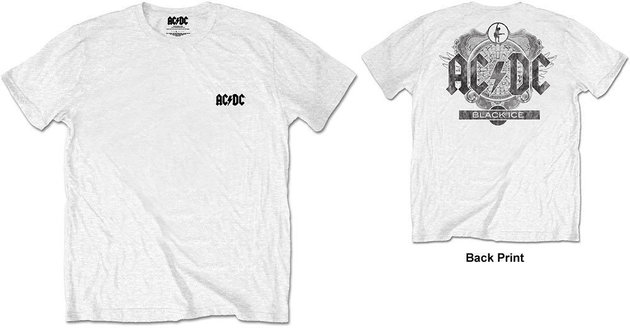 AC/DC Unisex Tee Black Ice White (Back Print/Retail Pack) XL