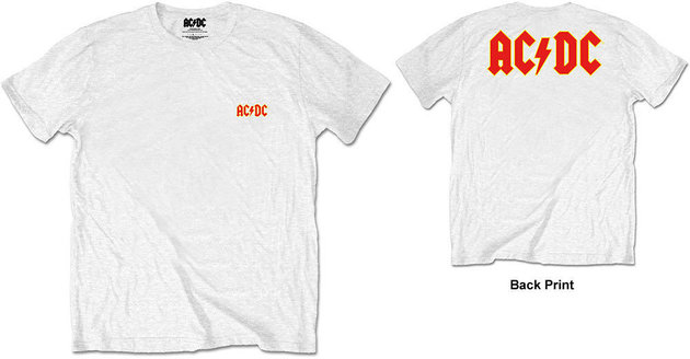 AC/DC Unisex Tee Logo White (Back Print/Retail Pack) L