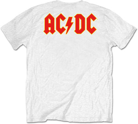 AC/DC Unisex Tee Logo White (Back Print/Retail Pack) XL