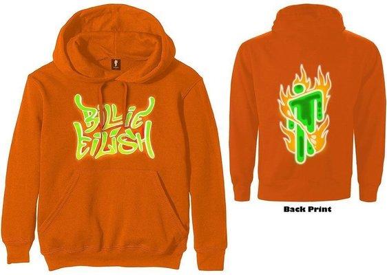 Billie Eilish Airbrush Flames Blohsh Zenei kapucnis pulóver