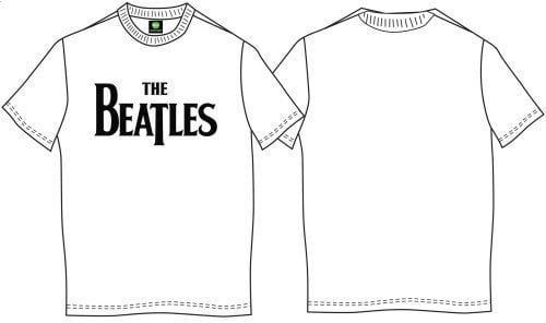 The Beatles Unisex Tee Drop T Logo White (Retail Pack) M