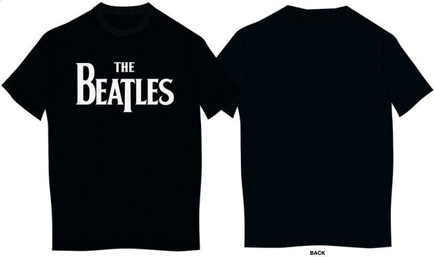 The Beatles Unisex Tee Drop T Logo Black (Retail Pack) XL