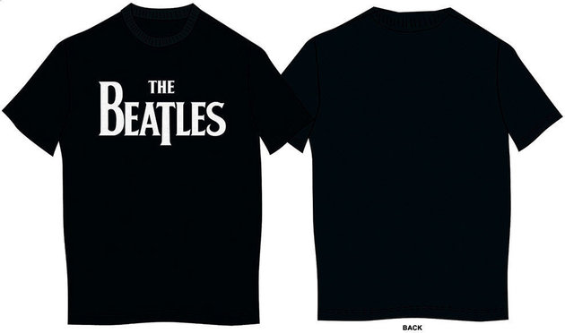 The Beatles Unisex Tee Drop T Logo Black (Retail Pack) XXL
