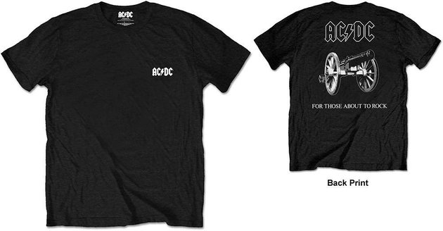 AC/DC Unisex Tee About To Rock Black (Back Print/Retail Pack) L