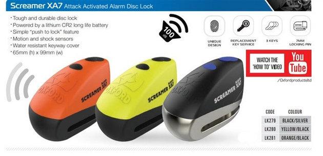 Oxford Screamer XA7 Alarm Disc Lock Black/Silver