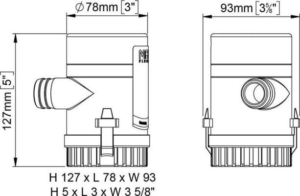 Marco UP1000 Bilge pump 63 l/min - 12V