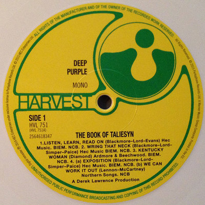Deep Purple Rsd - Book Of Taliesyn (Mono/White Vinyl)