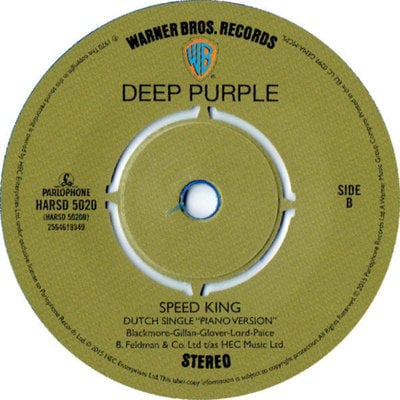Deep Purple Rsd - Black Night/Speed King (7' Blue Opaque Vinyl In Picture Bag)