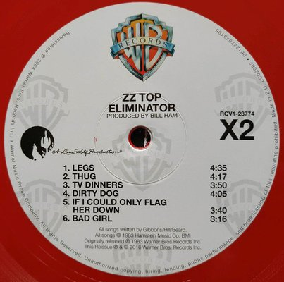 ZZ Top Eliminator (Red Coloured Vinyl)