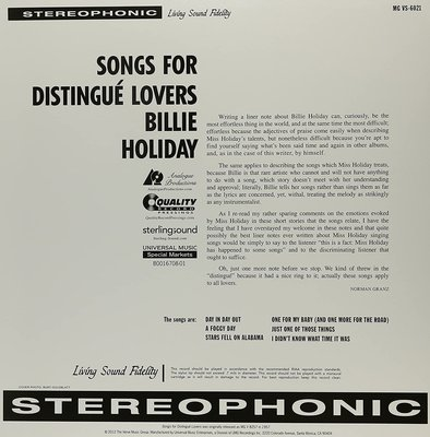 Billie Holiday Songs For Distingue Lovers (2 LP)