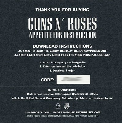 Guns N' Roses Appetite For Destruction (2 LP)