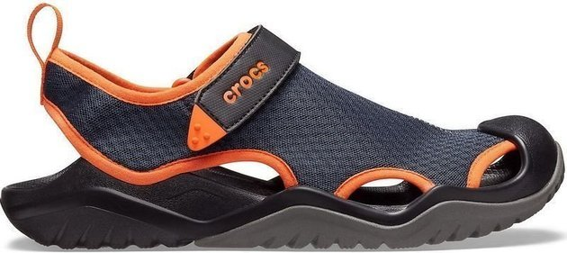 Crocs Men's Swiftwater Mesh Deck Sandal Navy/Tangerine 42-43