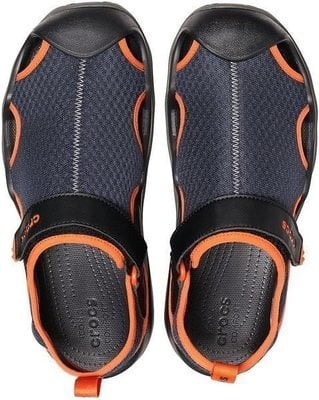 Crocs Men's Swiftwater Mesh Deck Sandal Navy/Tangerine 46-47