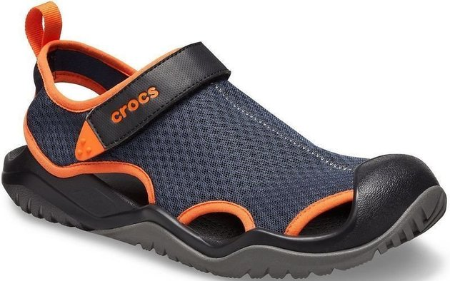 Crocs Men's Swiftwater Mesh Deck Sandal Navy/Tangerine 48-49
