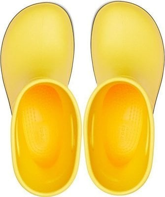 Crocs Kids' Crocband Rain Boot Yellow/Navy 22-23