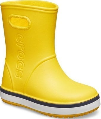 Crocs Kids' Crocband Rain Boot Yellow/Navy 25-26