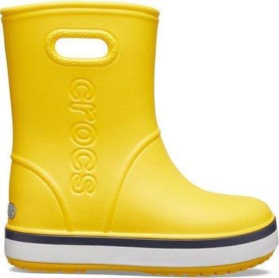 Crocs Kids' Crocband Rain Boot Yellow/Navy 28-29