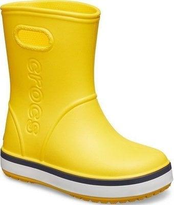Crocs Kids' Crocband Rain Boot Yellow/Navy 29-30