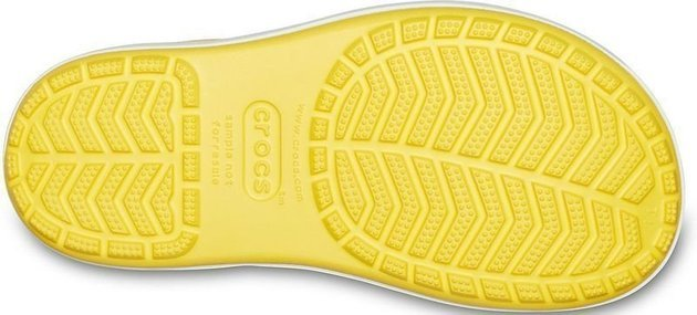Crocs Kids' Crocband Rain Boot Yellow/Navy 30-31