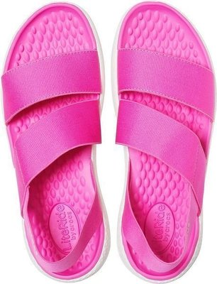 Crocs Women's LiteRide Stretch Sandal Electric Pink/Almost White 36-37