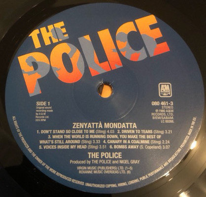 The Police Zenyatta Mondatta (Vinyl LP)