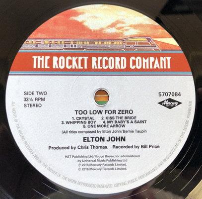 Elton John Too Low For Zero (Vinyl LP)