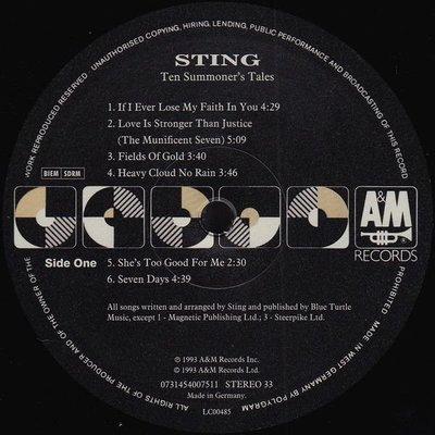 Sting Ten Summoner's Tales (Vinyl LP)