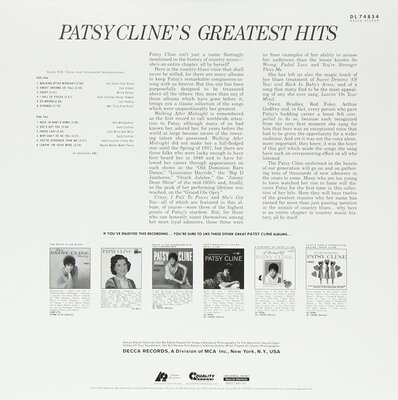 Patsy Cline Greatest Hits (2 LP)