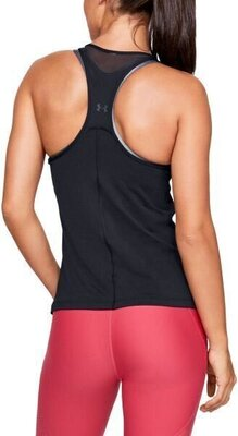 Under Armour HG Armour Racer Tank Womens Black/Metallic Silver L