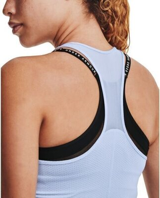 Under Armour HG Armour Racer Tank Womens Isotope Blue/Metallic Silver L