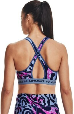Under Armour Crossback Mid Print Womens Bra Mineral Blue/Mineral Blue/Midnight Navy S