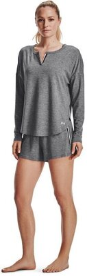 Under Armour Recover Sleep Womens Shorts Black Fade Heather/Metallic Silver M