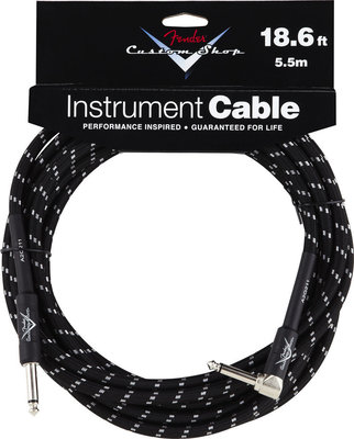 Fender Custom Shop Performance Series Cable 5.5m Black Tweed Angled