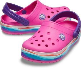Crocs Kids' Crocband Wavy Band Clog Neon Magenta