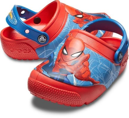 Crocs Boys' Crocs Fun Lab SpiderMan Light Clog Flame 24-25