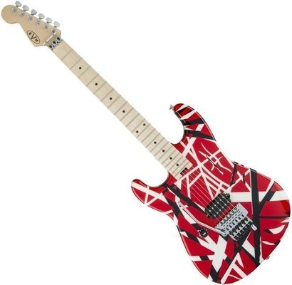 EVH Striped Series LH MN Red Black and White Stripes