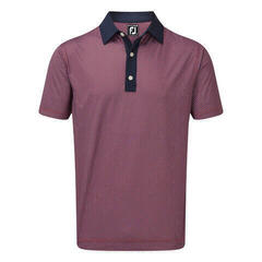 Footjoy Stretch Lisle Basketweave Print Mens Polo Shirt Scarlet/Navy