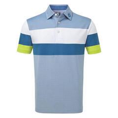 Footjoy Engineered Birdseye Pique Mens Polo Shirt Blue/White/Citrus