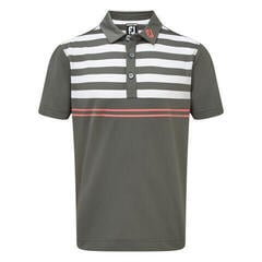 Footjoy Stretch Pique with Graphic Stripes Mens Polo Shirt Granite/White/Watermelon S