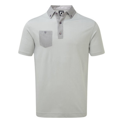 Footjoy Birdseye Jacquard Buttondown Collar Mens Polo Grey M