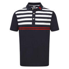 Footjoy Stretch Pique with Graphic Stripes Férfi Golfpóló Navy/White/Scarlet S