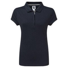 Footjoy Smooth Pique with Pin Dot Print Womens Polo Shirt Navy/Grey