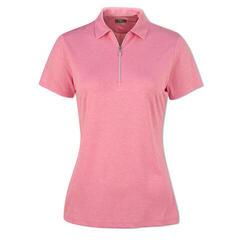 Callaway 1/4 Zip Heathered Womens Polo Shirt Fuchsia Pink