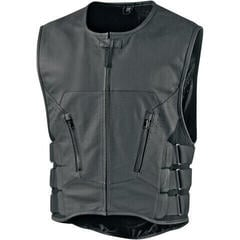 Icon Regulator D3O Stripped Leather Vest Black