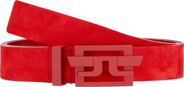 J.Lindeberg Wing Brushed Leather Golf Belt Deep Red 90
