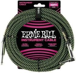Ernie Ball Braided Instrument Cable Green-Black/Braided-Straight - Angled