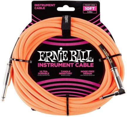 Ernie Ball 10' Braided Straight Angle Neon Orange