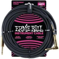 Ernie Ball Braided Instrument Cable Черeн/Плетен-Директен - Ъглов